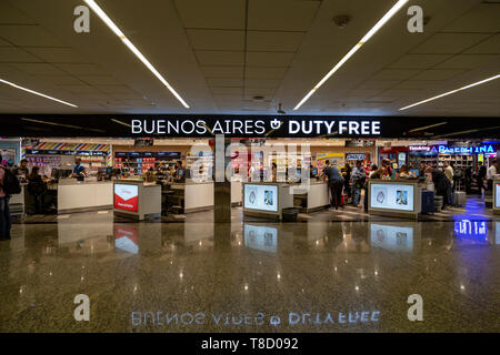 Duty free shops at Ministro Pistarini International Airport, Ezeiza, EZE, Buenos Aires, Argentina - Stock Photo