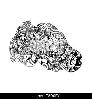 Hand drawn doodle outline magic line art element with floral ornament and stylized mushrooms. Sketch for children or adult coloring pages. - Stock Photo