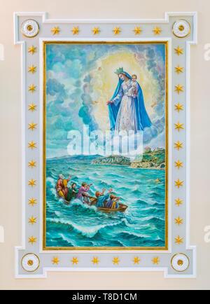 Fresco in the Church of Madonna di Costantinopoli in Agropoli, Cilento, Campania, southern Italy. - Stock Photo