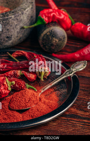 Spoonful of ground chili pepper with dried fruits on metal plate - Stock Photo