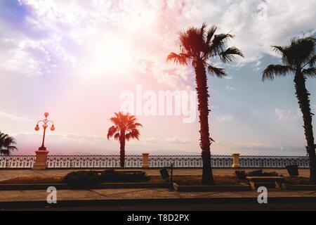 Reggio Calabria promenade, Calabria, Italy - Stock Photo