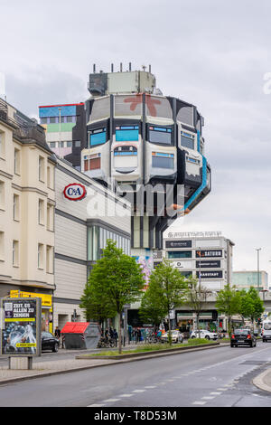 The Bierpinsel (beer brush), an iconic and unusual building in the Steglitz district built in the 1970s, Berlin, Germany - Stock Photo