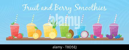 Natural fruit smoothie rainbow colection vector illustration. Sweet protein shake or vegeterian juicy cocktail set in glass cup with straw and fresh fruits for smoothie social media promotion banner - Stock Photo