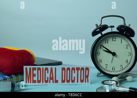 Medical Doctor Planning on Background of Working Table with Office Supplies. Medical and Healthcare Concept Planning on White Background - Stock Photo