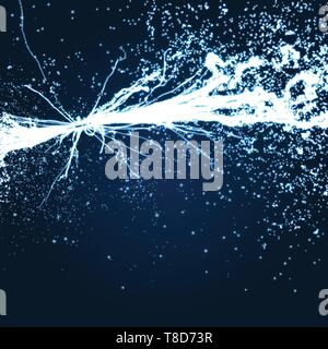Electricity lighting effects. Array with Dynamic Particles. 3d Futuristic technology style. Abstract Background. Glowing points. Vector Illustration. - Stock Photo