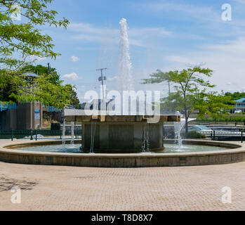 Michigan City, Indiana / USA on July 28th 2018: Washington Park Fountain in Millennium Park  in Bright Sunny Sunlight during Midday on a Beautiful Sum - Stock Photo