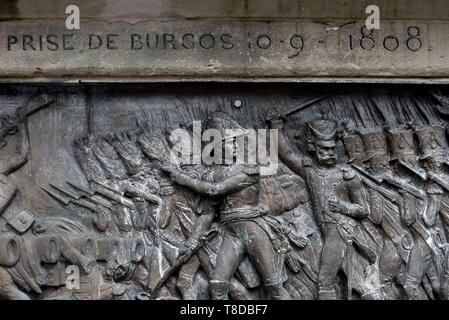France, Moselle, Phalsbourg, Place d Armes, statue of Georges Mouton, Marshal Lobau born in 1770 in Phalsbourg, bas-relief, taking Burgos in 1808 - Stock Photo