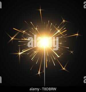Bengal fire. Burning shiny sparkler firework. Realistic light effect. Party decor element. Vector illustration isolated on transparent background - Stock Photo