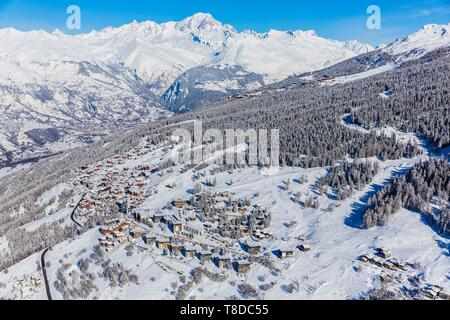 France, Savoie, Vanoise massif, valley of Haute Tarentaise, Peisey-Nancroix, Peisey-Vallandry, part of the Paradiski area, view of the Mont Blanc (4810m), Les Arcs and Bourg-Saint-Maurice (aerial view) - Stock Photo