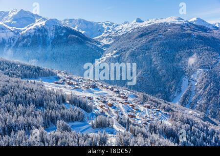 France, Savoie, Vanoise massif, valley of Haute Tarentaise, Peisey-Nancroix, Peisey-Vallandry, part of the Paradiski area, view of the La Plagne ski area, (aerial view) - Stock Photo