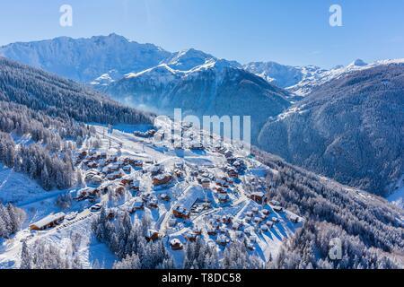 France, Savoie, Vanoise massif, valley of Haute Tarentaise, Peisey-Nancroix, Peisey-Vallandry, part of the Paradiski area, view of the Dome de Bellecote (3381m), (aerial view) - Stock Photo