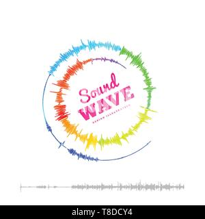 Sound wave spiral form. Vector illustration isolated on white background - Stock Photo