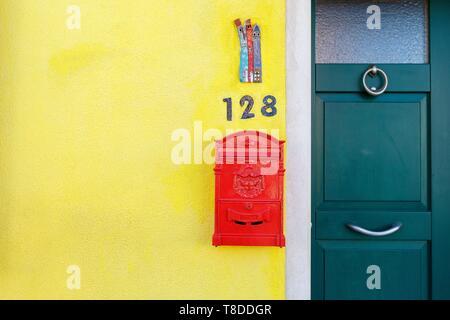 Italy, Veneto, Venice listed as World Heritage by UNESCO, Burano island, Burano, colorful house - Stock Photo
