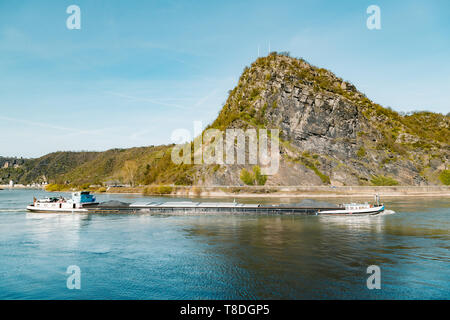 Beautiful view of famous Loreley Rock along Rhine river in the Upper Middle Rhine Valley in spring, Rheinland-Pfalz, Germany - Stock Photo