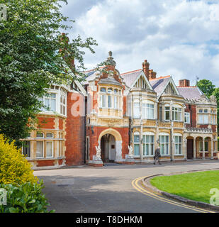 Entrance to the Victorian mansion at Bletchley Park, once the top-secret home of the World War Two Codebreakers, now a leading heritage attraction - Stock Photo