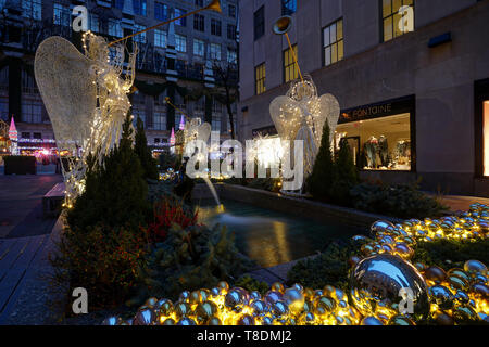 Christmas Decorations at Rockefeller Center - Stock Photo