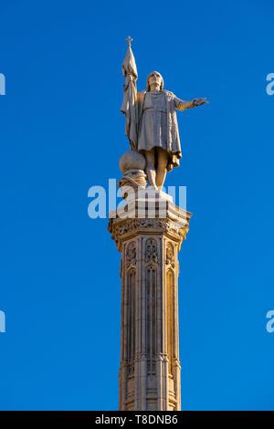 Statue of Christopher Columbus in Paseo de la Castellana, Colon Square. Madrid city, Spain Europe - Stock Photo