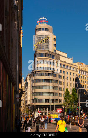 Gran Via street, Capitol building on Callao Square. Madrid city. Spain, Europe - Stock Photo