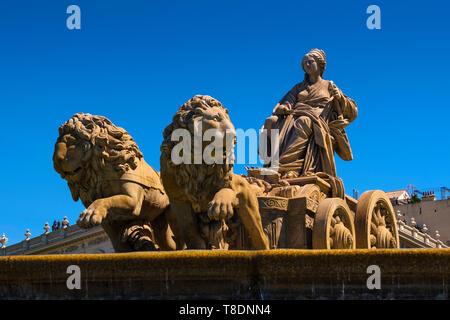 Fuente de la Cibeles. Monumental fountain of the goddess Cibeles on Plaza de Cibeles. Madrid city, Spain Europe - Stock Photo