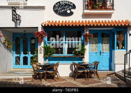 Bar Restaurant la Bodega del Pintor, typical white village of Mijas. Costa del Sol, Málaga province. Andalusia, Southern Spain Europe - Stock Photo