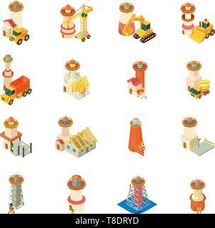 Construction of lighthouse icons set, isometric style - Stock Photo