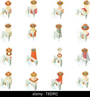 Arche lighthouse icons set, isometric style - Stock Photo