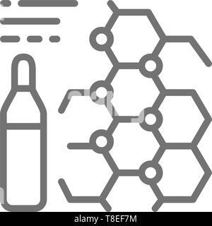 Medicine formula, ampoules, vaccine line icon. Isolated on white background - Stock Photo