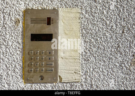 access control door box with numeric keypad on white background - Stock Photo