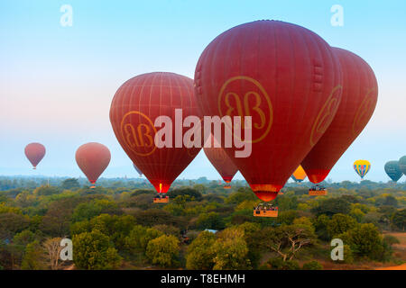 Hot air balloon in Bagan (Myanmar) - Stock Photo