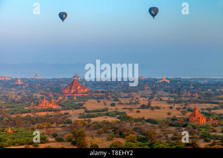 View from a hot air balloon in Bagan in the early morning (Myanmar) - Stock Photo