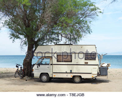 motor home at the beach - Stock Photo