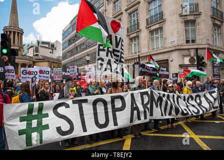 London, UK. May 11th 2019. National Demonstration for Palestine. Thousands of activists marched from Portland Place to Whitehall. Organised by the Palestine Solidarity Campaign, Stop the War Coalition, Palestinian Forum in Britain, Friends of Al- Aqsa & Muslim Association of Britain. Credit: Stephen Bell/Alamy Stock Photo - Stock Photo