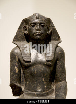 Portrait of Amenemhat III, king of Egypt (1853-1806 BC). Middle kingdom, 12th Dynasty. Black granite (1850-1800 BC). Hermitage. - Stock Photo