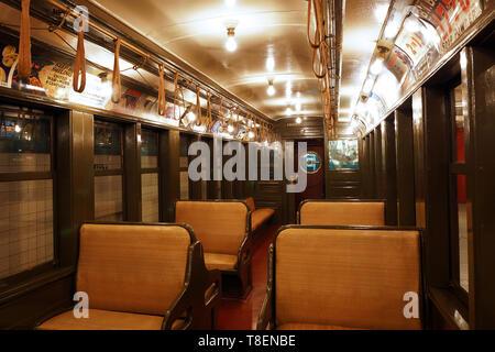 Interior of a BU car (BRT), New York Transit Museum - Stock Photo