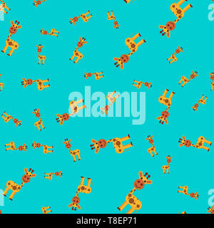 Seamless pattern of giraffe.  illustration in cartoon style on a colored background. - Stock Photo