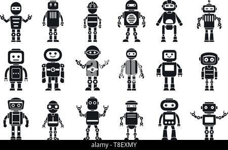 Humanoid character icons set. Simple set of humanoid character vector icons for web design on white background - Stock Photo