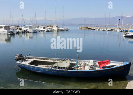Port de plaisance. Lac Léman. Yvoire. - Stock Photo