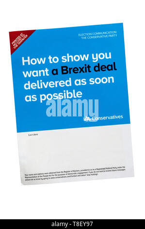 European election leaflet 2019 from the Conservative Party. - Stock Photo