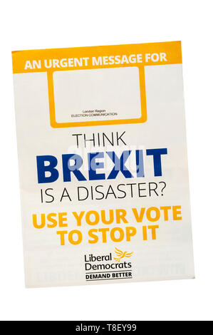 European election leaflet 2019 from Liberal Democrats - Stock Photo