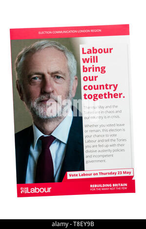 European election leaflet 2019 from the Labour Party led by Jeremy Corbyn. - Stock Photo