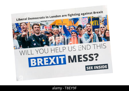 European election leaflet 2019 from Liberal Democrats. - Stock Photo