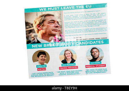 European election leaflet 2019 from the Brexit Party led by Nigel Farage. - Stock Photo