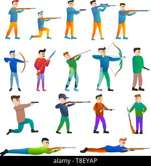 Shooting sport icons set. Cartoon set of shooting sport vector icons for web design - Stock Photo