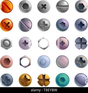 Screw-bolt icons set. Cartoon set of screw-bolt vector icons for web design - Stock Photo