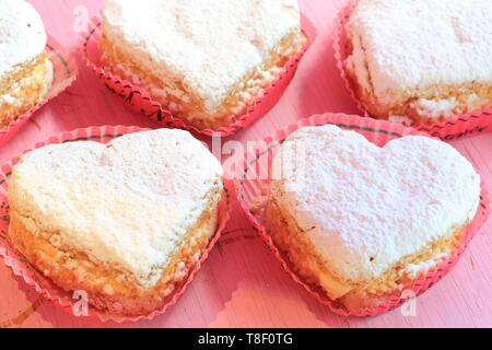 France, Saone et Loire, Macon, pastry of the Bar, ideal cakes Maconnais heart shaped - Stock Photo