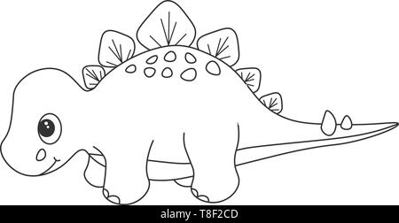 Contour of dinosaurus stegosaurus, which can be used as a coloring. Isolated on white background. Vector illustration. - Stock Photo