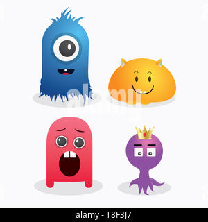 A set of cute monster template vector design - Stock Photo