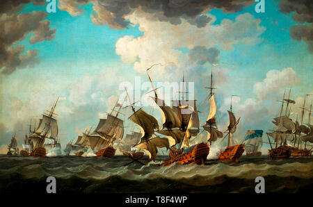 The Battle of Quiberon Bay, 20 November 1759 - Richard Paton - Stock Photo