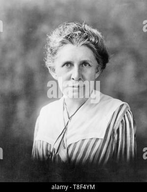 Ida Tarbell, half-length portrait, facing front, circa 1925. Ida Tarbell was an American writer, investigative journalist, biographer and lecturer. - Stock Photo