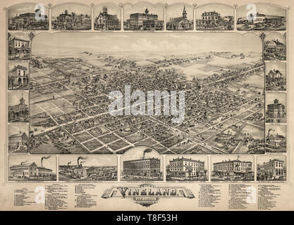 Birds eye view of The city of Vineland, New Jersey, 1885 - Stock Photo